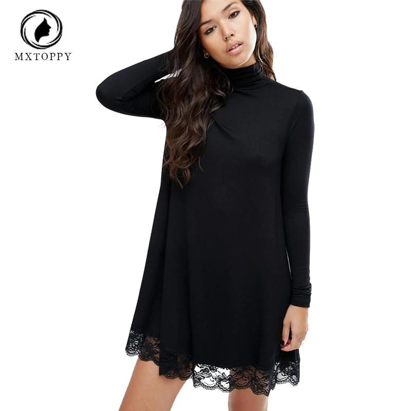 9eb1ce2ed6ee ProductImage. ProductImage. Women''S Long Sleeve Tunic Winter Dress Crochet  Turtleneck Lace Dress Female Dresses Women Black