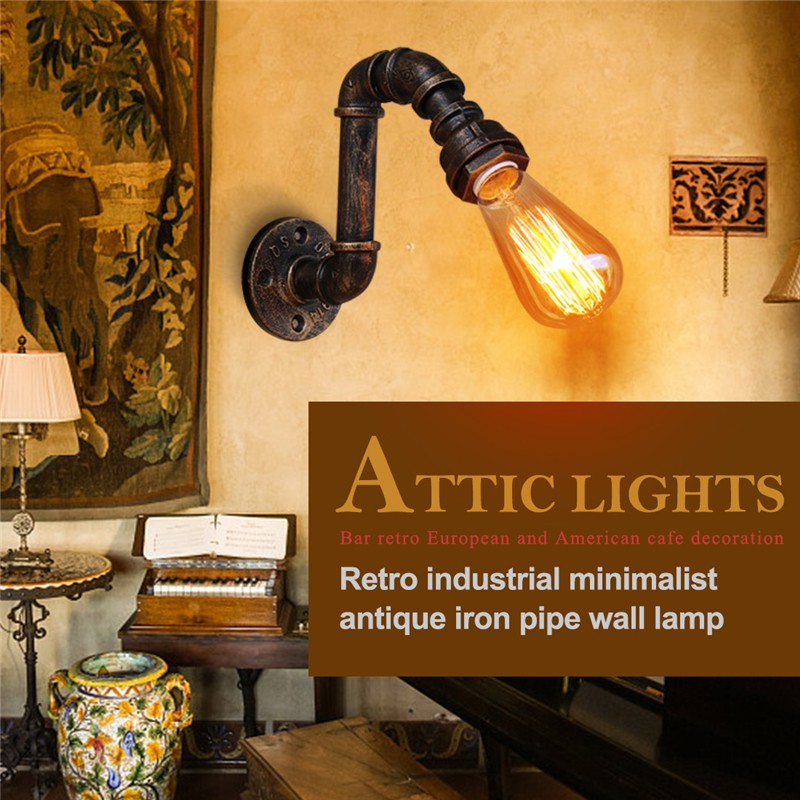 Lamps & Shades Bg828 Retro Industrial Simple 110v-240v Antique Iron Pipe Small Wall Lamp Loft Light Bar European And American Cafe Decoration Wall Lamps