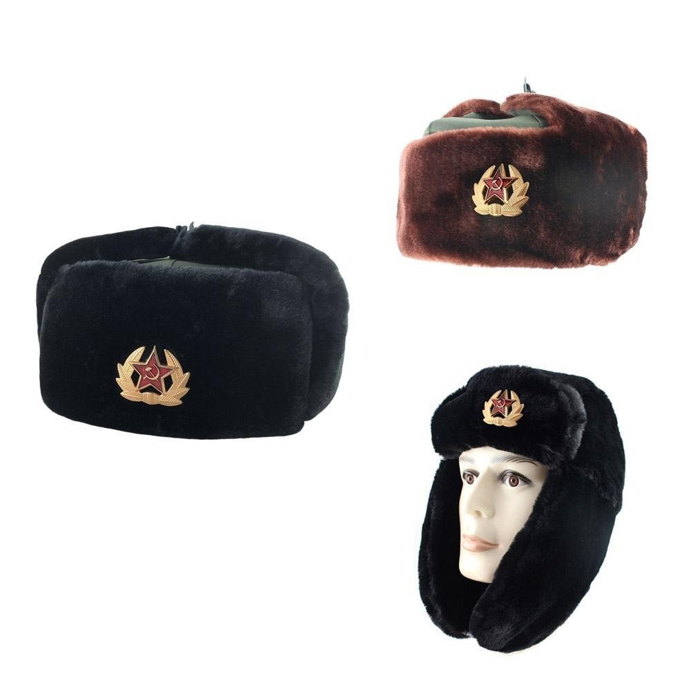 e1cf6c624 Chinese Russian Army Trooper Hat Winter Green Warm Cap Red Star ...