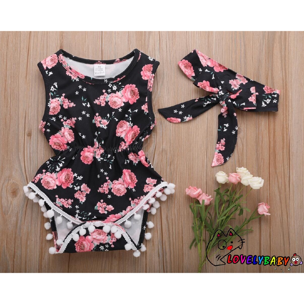 Neugeborenes Baby Girl Black Sunsuit Strampler Overall Playsuit Outfit Body