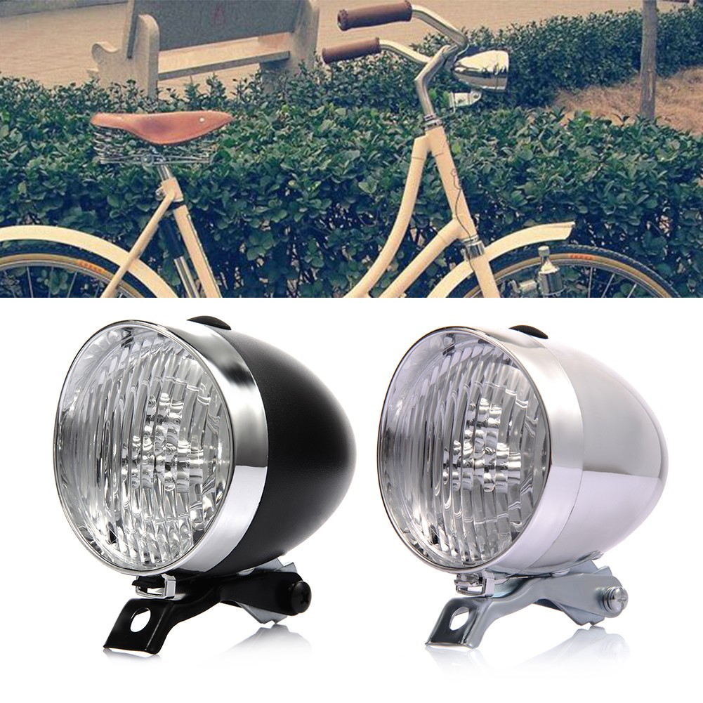 Front+Rear Retro Bicycle 3 LEDs Front Lights Headlight Vintage Flashlight Lamp