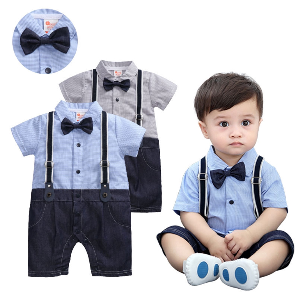 Plaid Suspender Shorts Sets 2 Piece Outfits Baby Boys Short Sleeve Bowtie Rompers