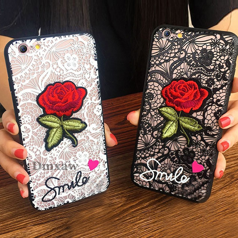 For OPPO R9S R9 R11 R11S R7 R7S F1 Plus Case Lace Rose Flower Silicone Cover