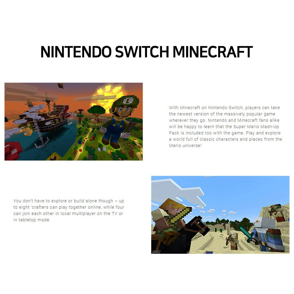 Nintendo Switch] MINECRAFT SWITCH EDITION GAME | Shopee Singapore