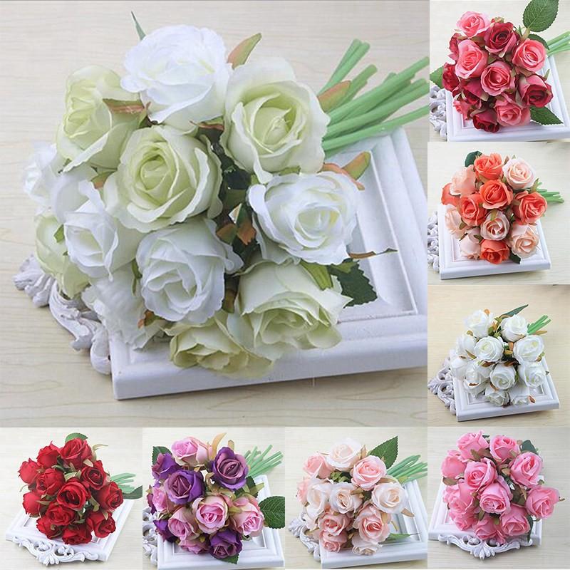 12pcs Lots Artificial Rose Flowers Wedding Bouquet White Pink Thai Royal Rose Silk Flowers Home Deco Shopee Singapore