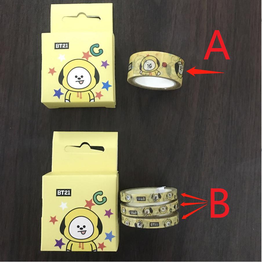 BTS BT21 Series Cute Washi Tape Set Masking Tape Journal Supplies Stationary