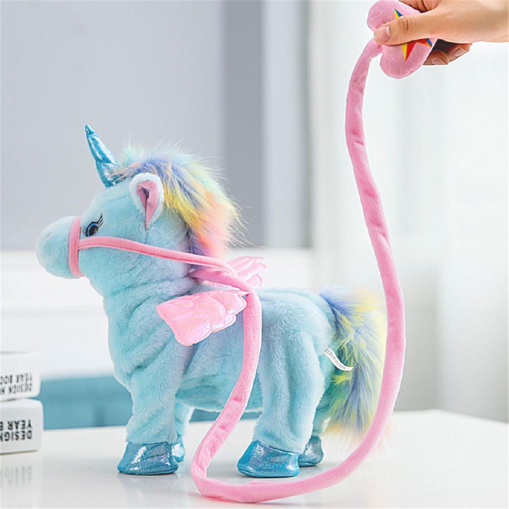 Electronic Walking Speaking Unicorn Stuffed Animal Plush Soft Doll Toy White