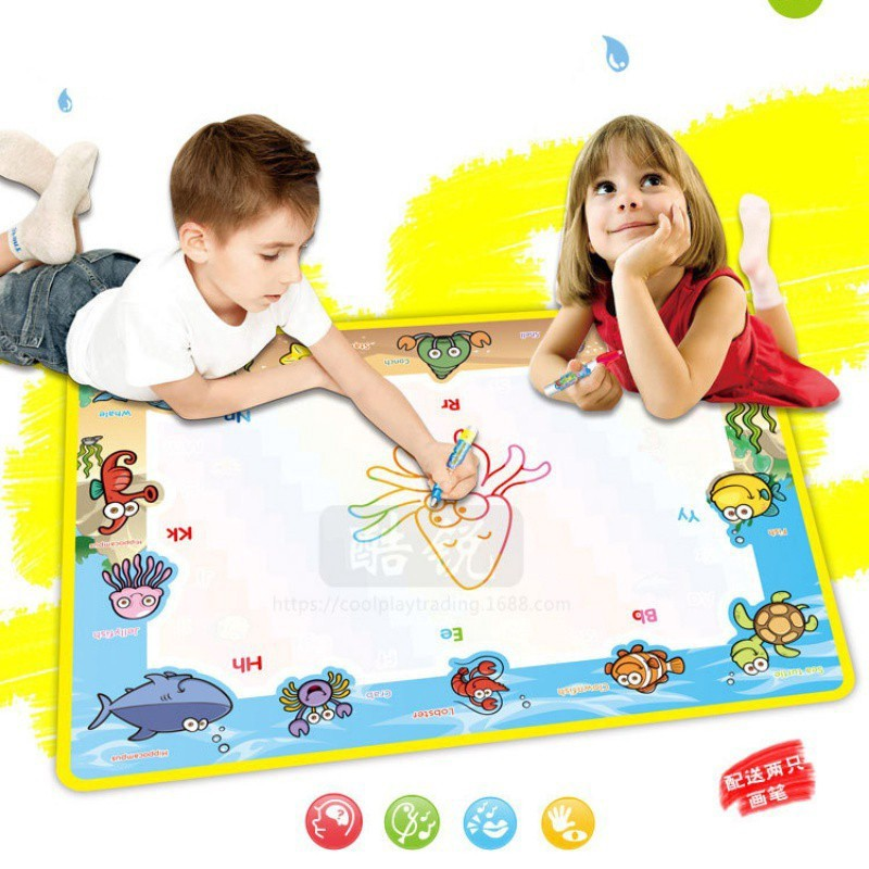 Aqua doodle Mat Kids Educational Toys Gift for Boys Girls Toddlers Age 1-6 Dolphin Foldable /& Reusable Water Doodle Pad Large Magic Water Drawing Mat with 3 Water Doodle Pens /& 6 Drawing Accessories