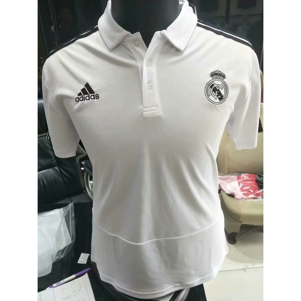 newest 8ffb9 a8d4e 2018-2019 Real Madrid UCL Polo Shirt (White)