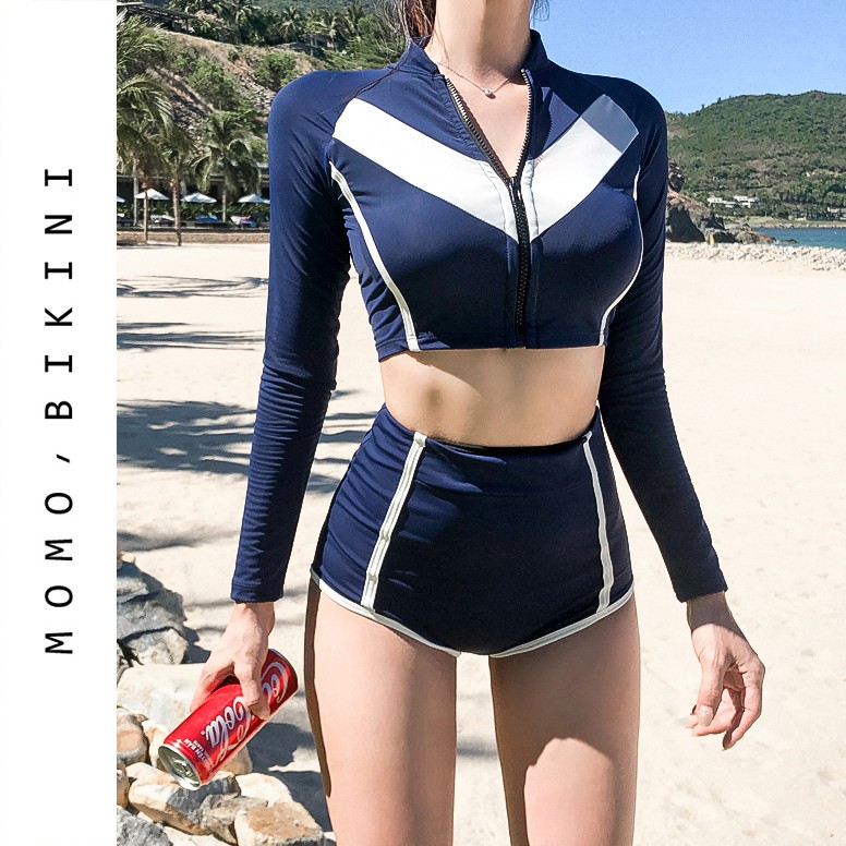 South Koreas New Sexy High Waist Long Sleeve Small Chest -7358