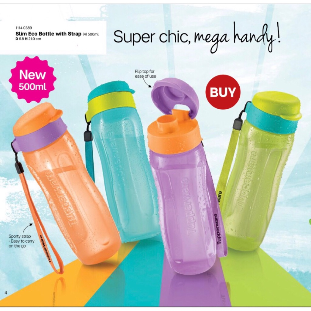 Tupperware Slim Water Bottle 500ml and 1L