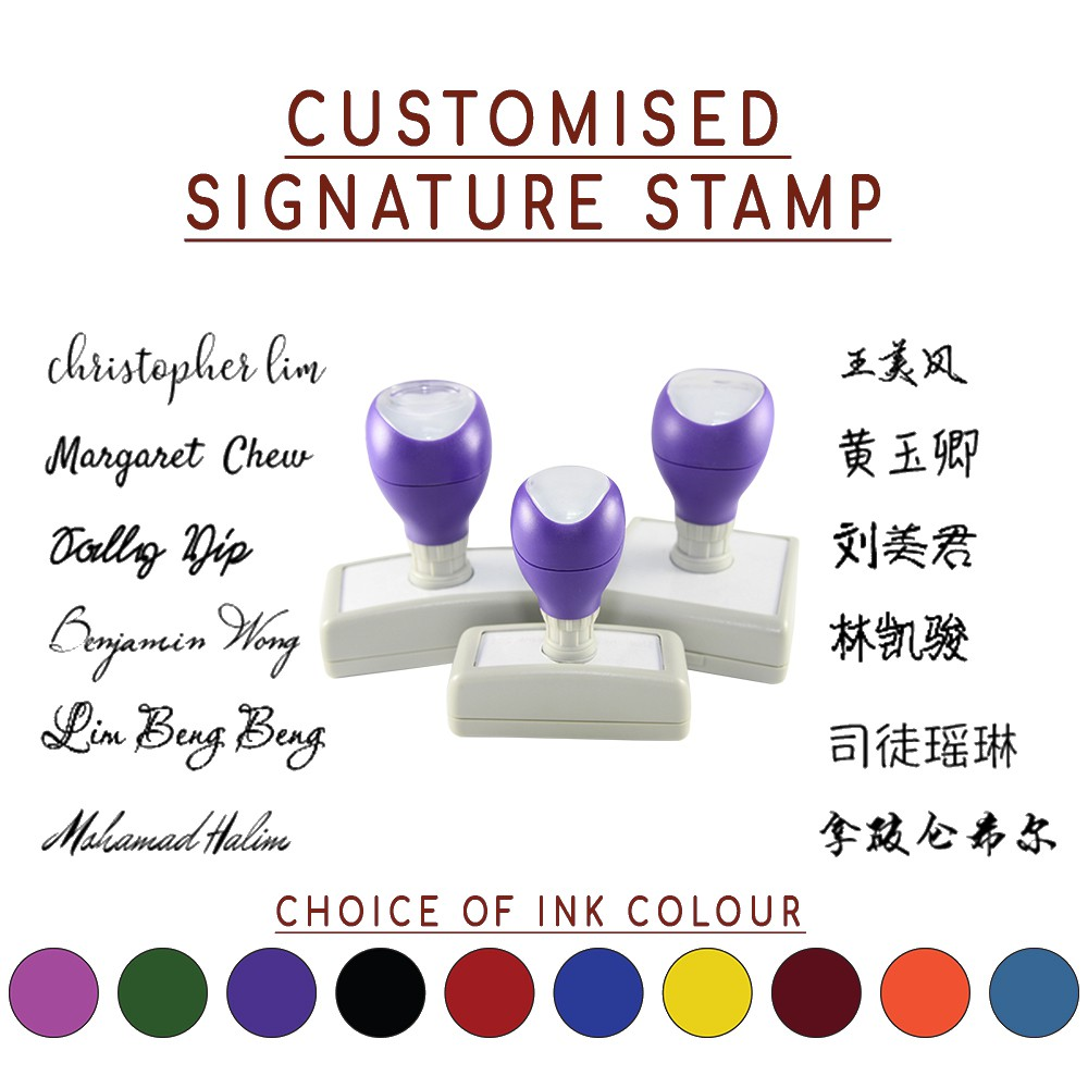 Customised Signature Self Inking Stamp In English Chinese