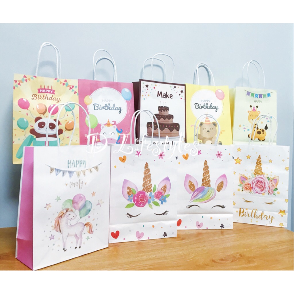 15x8x21cm Gift Paper Bag Birthday Wedding Party Handle Bag 10 Colors Supply