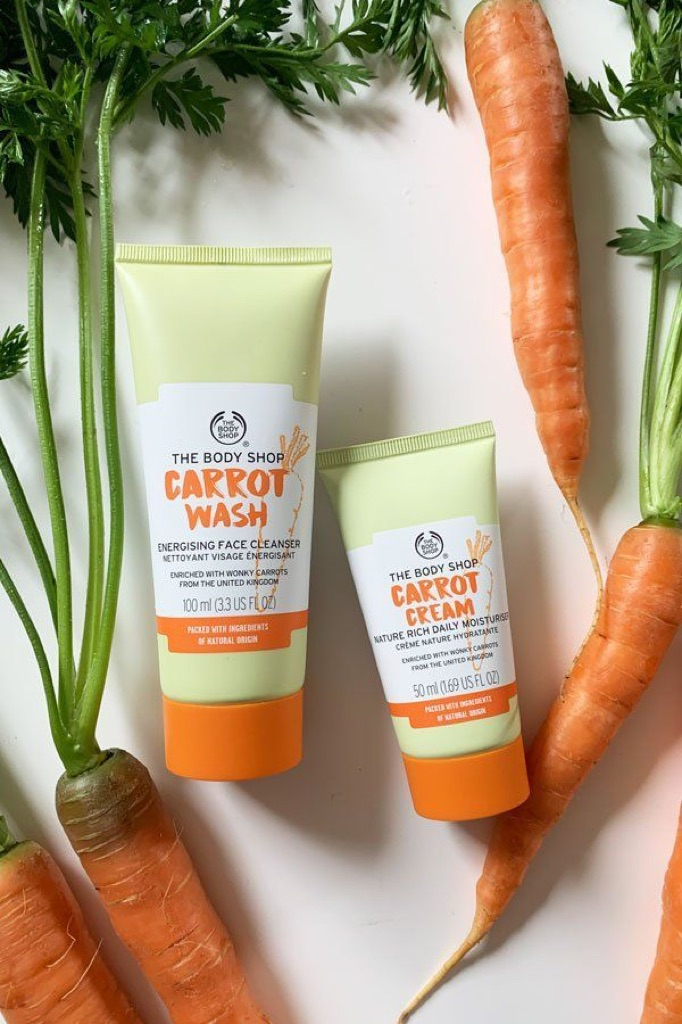 The Body Shop Carrot Wash Energizing Face Cleanser And Carrot Cream Nature Rich Daily Moisturiser Shopee Singapore