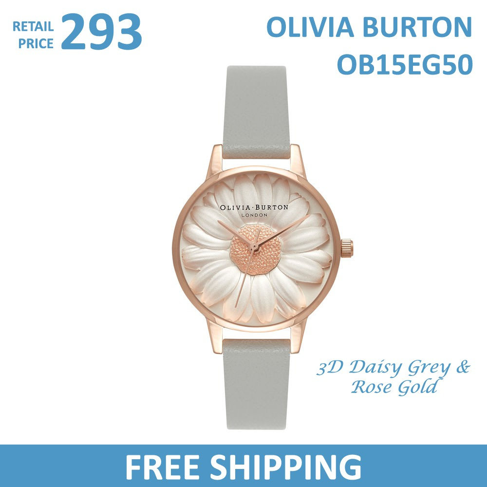 94a552650401 Olivia Burton Ladies Watch 3D Daisy Grey   Rose Gold OB15EG50 ...
