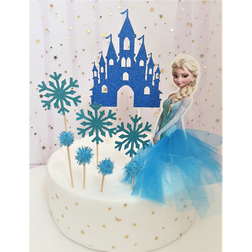 Excellent Birthday Cake Frozen Princess Elsa With Snowflakes And Castle Cake Funny Birthday Cards Online Inifofree Goldxyz