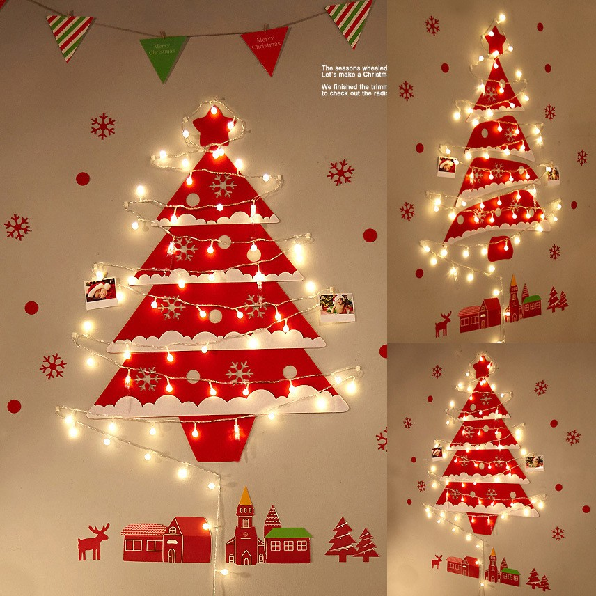 Wall Christmas Tree Decorations Luminous Glowing Wall Felt Christmas Tree Shopee Singapore