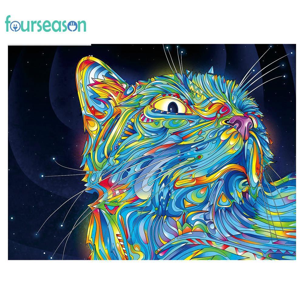 Full Drill 5D DIY Cats Animal Diamond Painting Embroidery Cross Stitch Kit Decor