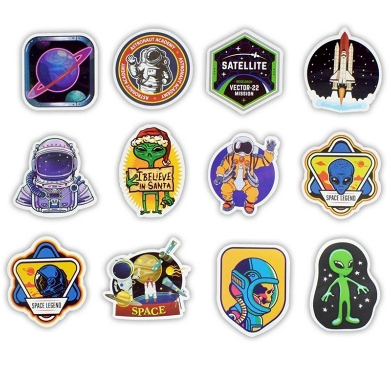 UFO Alien Stars  Bicycle Reflective Stickers Decals
