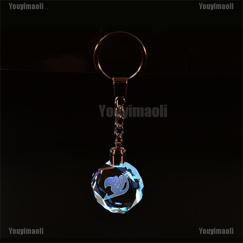 Women Fairy Tail Popular Anime Crystal LED Light Charm Key Chain Key Ring Cosplay Gifts for Friends Accessory