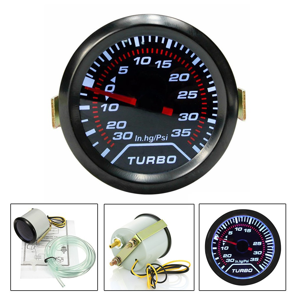 *Clearance* 52mm Smoked Super White Turbo Boost Pressure Gauge Kit PSI