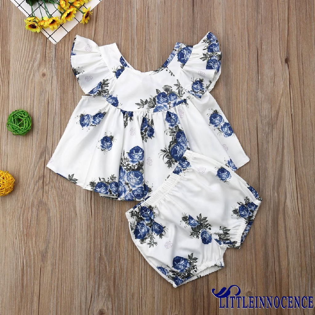 UK Toddler Baby Girl Clothes Ruffle T-Shirt Top Floral Shorts Summer Outfits MEC