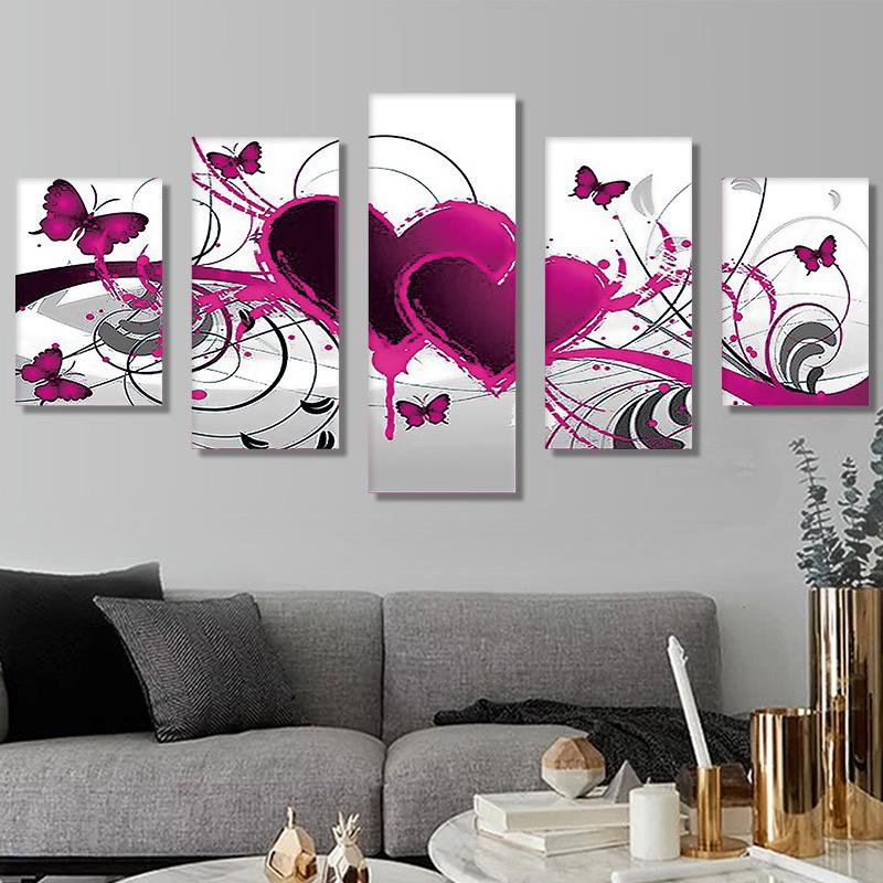 5pcs Set 5d Diy Diamond Painting Heart Embroidery Picture Handicraft