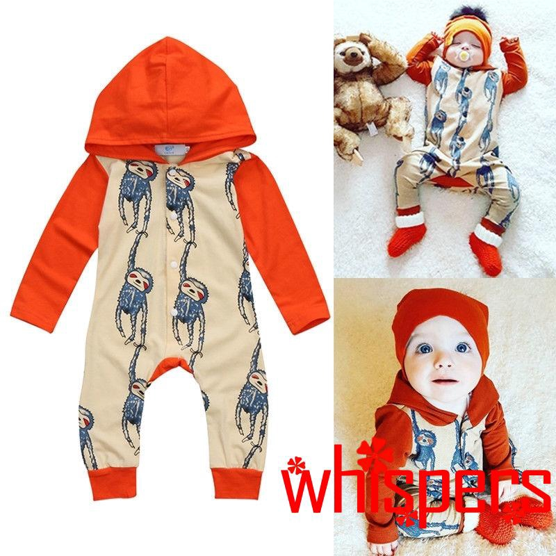Newborn Baby Boy Girl Kids Hooded Romper Jumpsuit Cotton Bodysuit Clothes Outfit