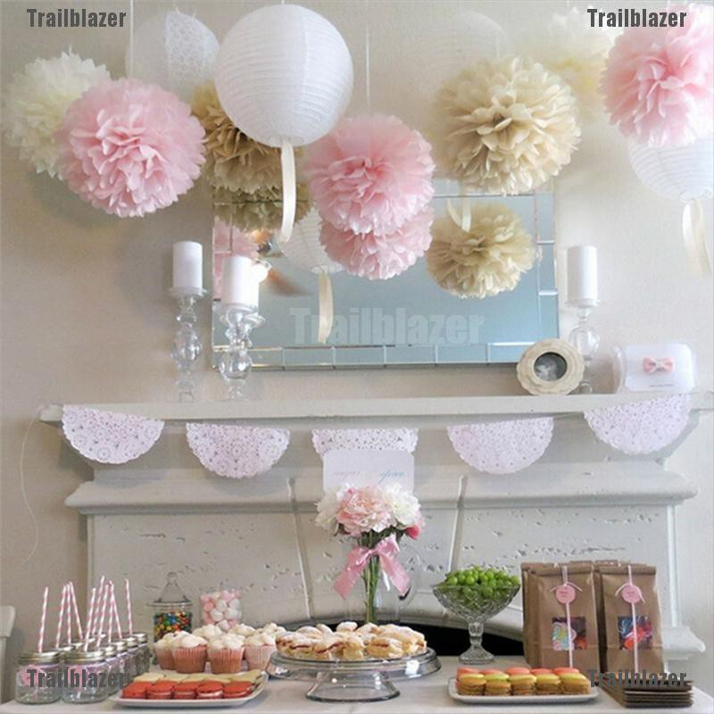20x grey tissue paper pom poms white lantern wedding party babyshower decoration