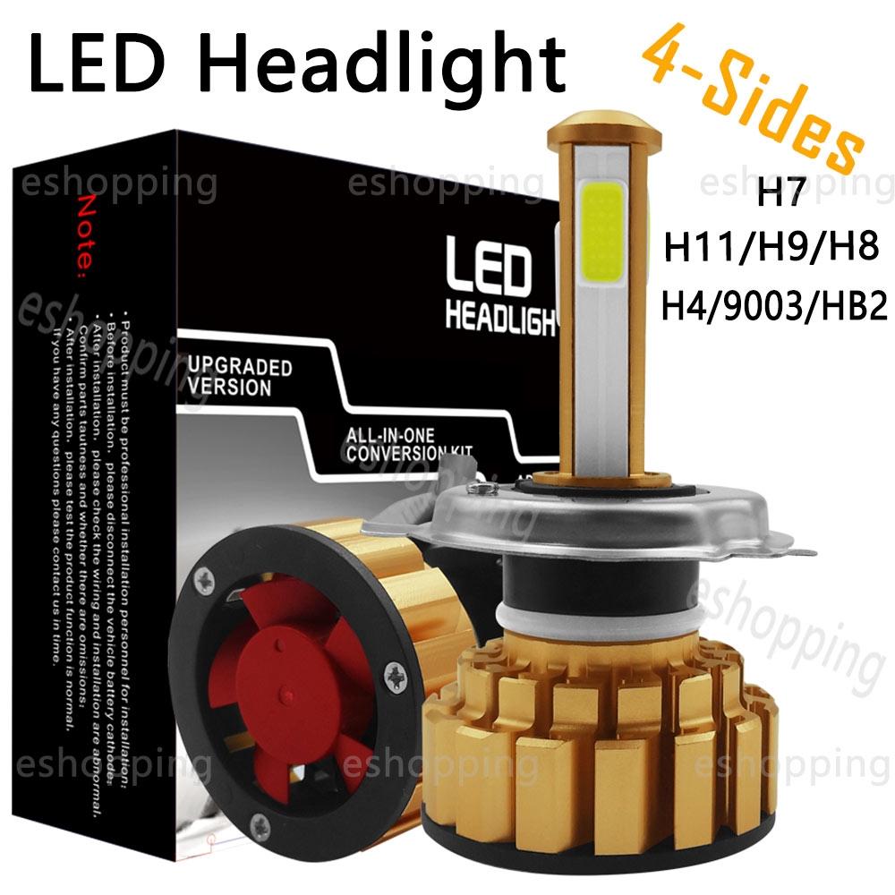 4-sides H13 9008 LED Headlight Bulbs Conversion High Low Beam 6000K 100W 20000LM