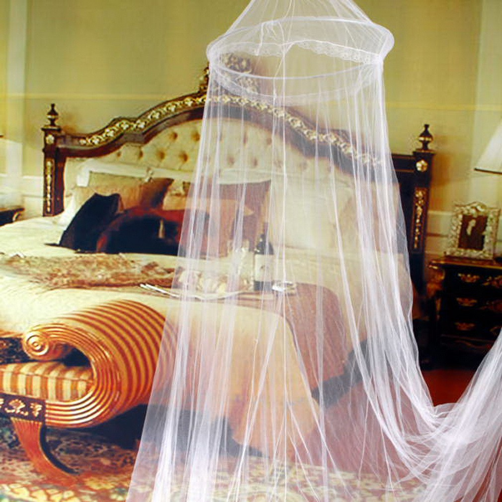 Round Lace Bed Netting Canopy Curtain Dome Insect Mosquito Net Elegant White