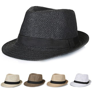 de896ca7380 Women Men Summer Beach Trilby Fedora Straw Panama Wide Brim Beach Cap Sun  Hat