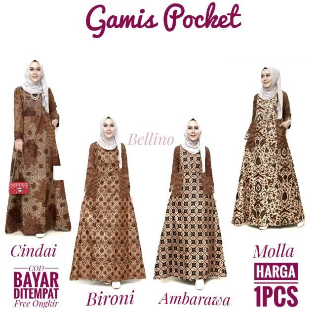 Bellino Dress Gamis Pocket Motif Batik Muslimah Gamis Batik Syar I Busui Gamis Cotton Batik For Women Shopee Singapore