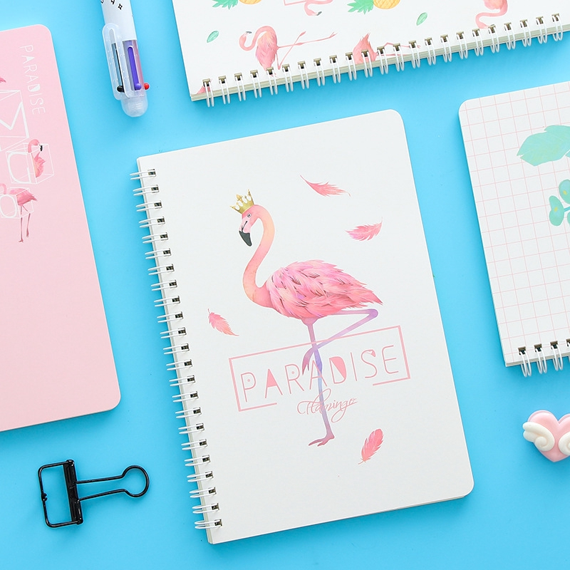 A5 Flamingo Notebook Spiral Book Coil Diary Planner Line Inner