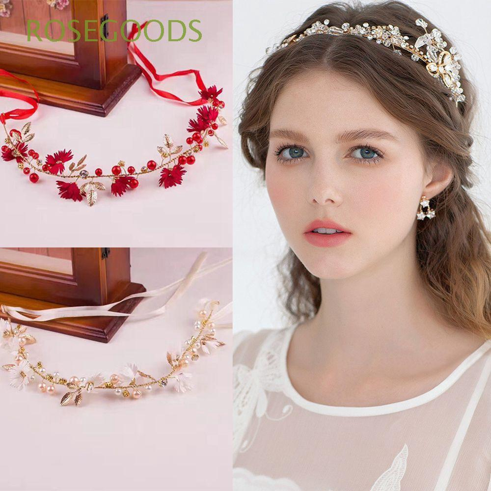 Girl Bride Floral Garland Crystal Crown Headband Daisy Headwear Flower Hairband