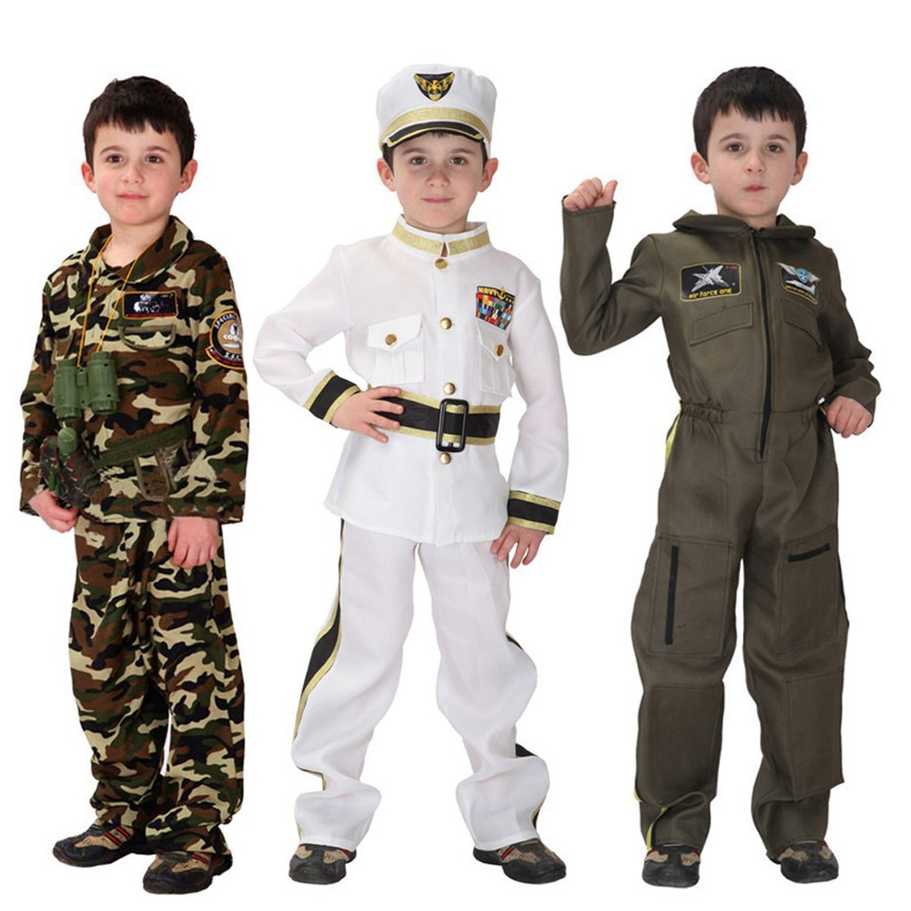 Cute Boy And Girl Toddler Sailor Suits Military Fancy Dress Costume