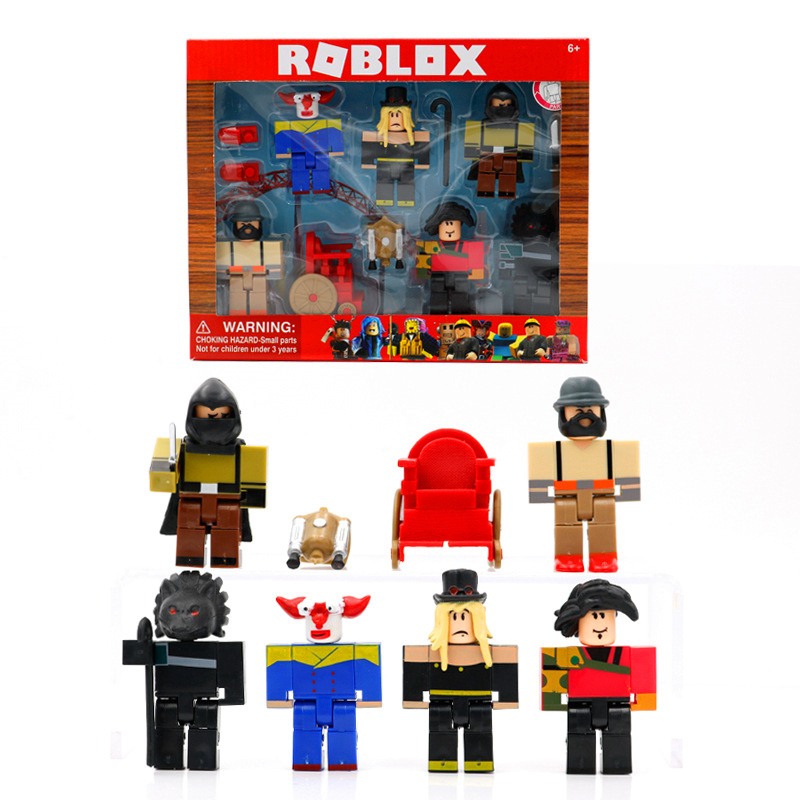 Game Roblox Building Blocks 6 Figures + Weapons Dolls Wolf Night Anime Virtual World Cartoon Games Action Figure Toys Kids Gift with Retail Box