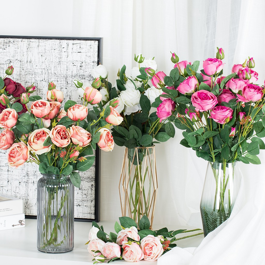 Artificial Fake Roses Flannel Flower Bridal Bouquet Wedding Party Home Decor Shopee Singapore
