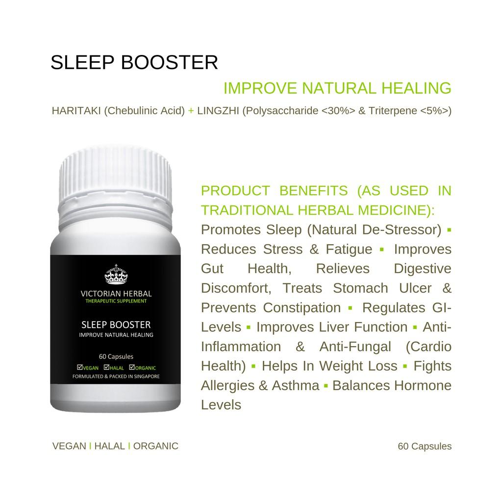 Sleep Booster I Improve Natural Healing I Vegan ▪ Halal ▪ Organic I 60 Veg  Capsules I Victorian Herbal