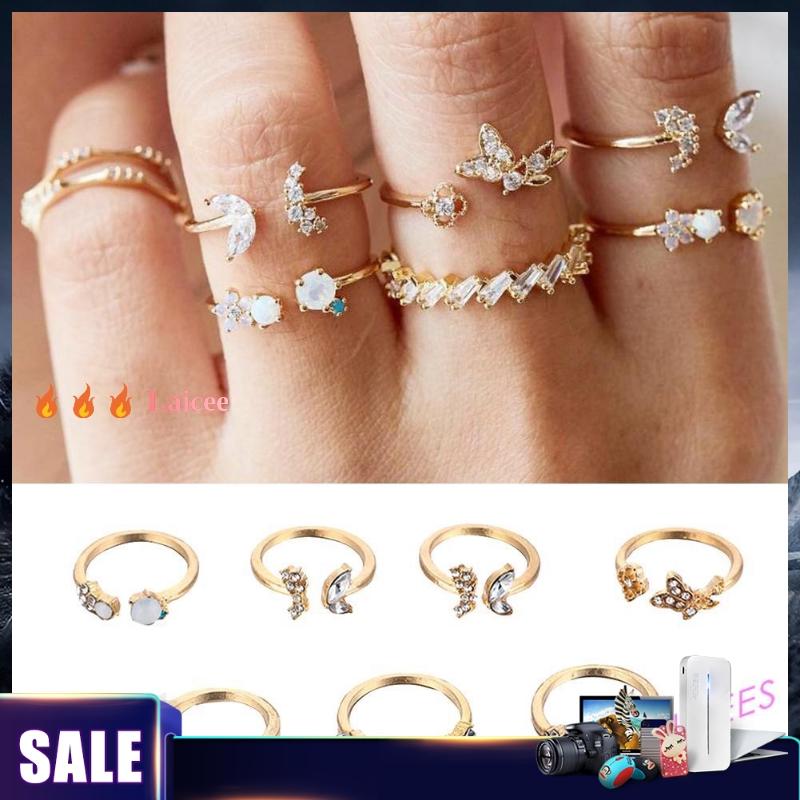 7pcs//set Rhinestone Butterfly Flower Ring Women Open Knuckle Rings Jewelry