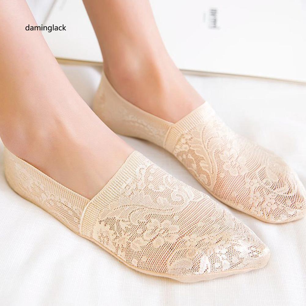 Invisible Boat Socks Fashion Womens Lace Non Slip