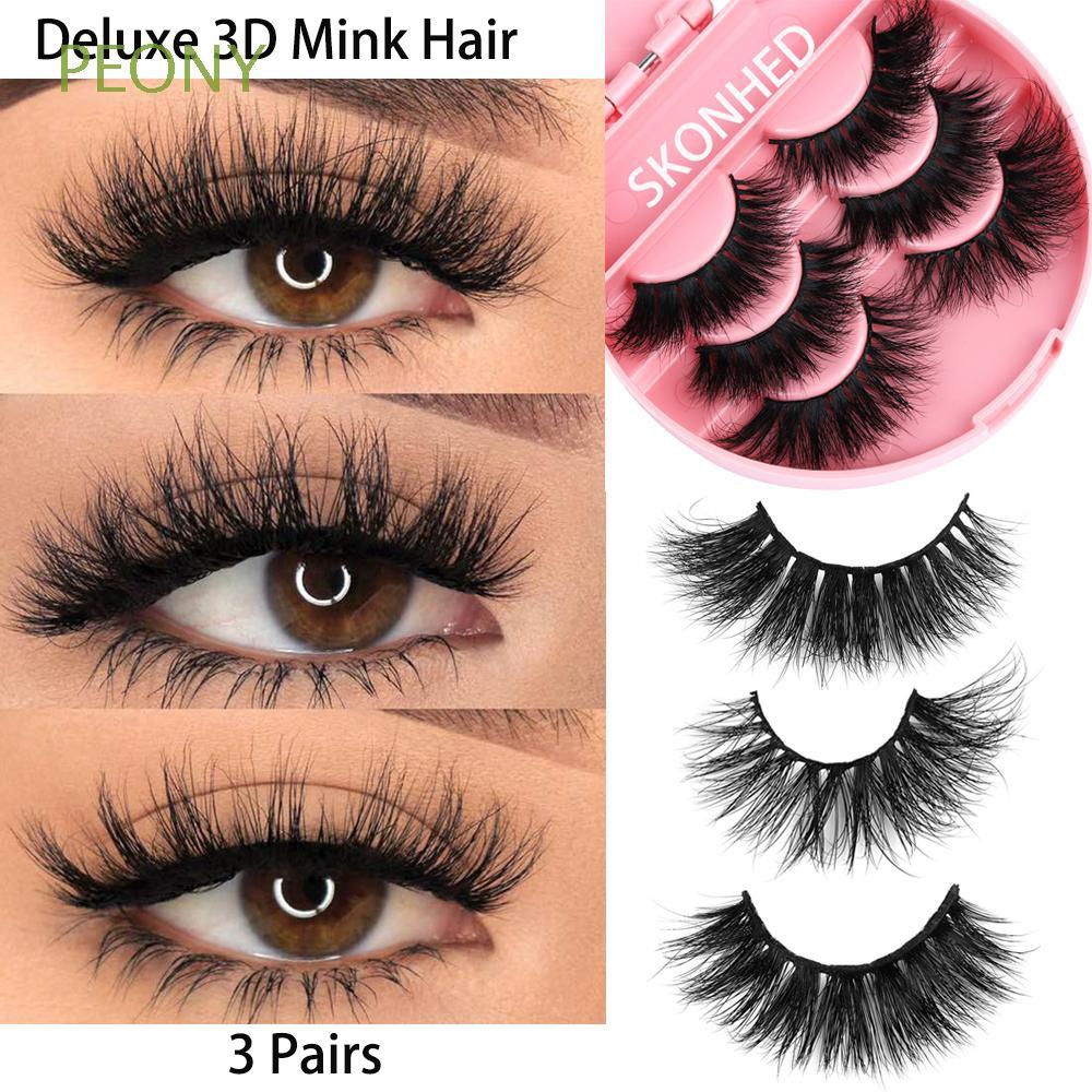 1dbfc354bbf SK SKONHED 3 Pairs Tools False Eyelashes Wispy Eye Lash Extensions Mink Hair  | Shopee Singapore
