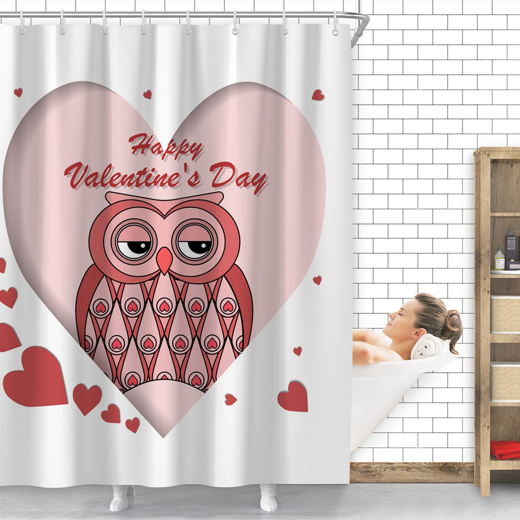 Romantic Pink Owl With Hearts Waterproof Shower Curtain Bathroom Bath 12 Hooks