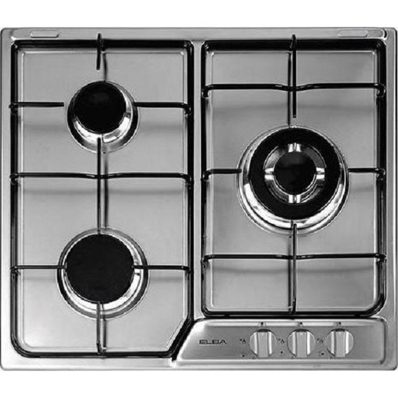 ELBA EHS635SB 60cm 3 Burner Built-In Gas Hob with Stainless Steel Top