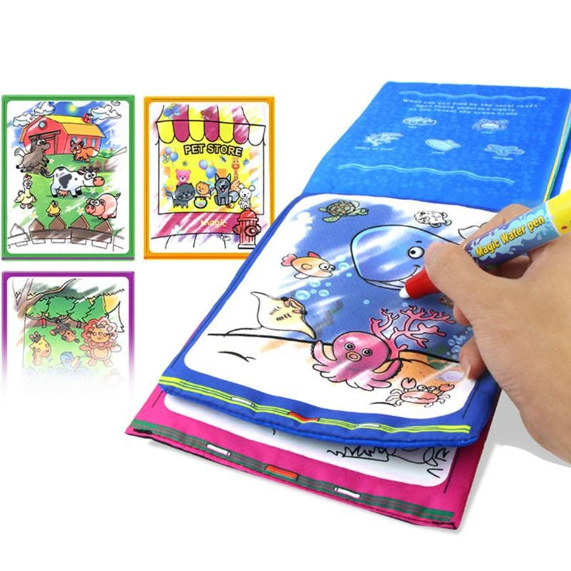 Kids Coloring Drawing Toy Animals Magic Water Drawing Book With