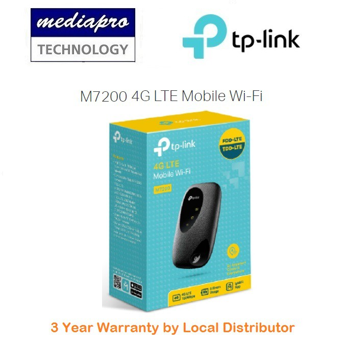 TP-Link M7200 4G LTE Mobile Wi-Fi ( Mi-Fi ) - 3 Years Local Agent Warranty