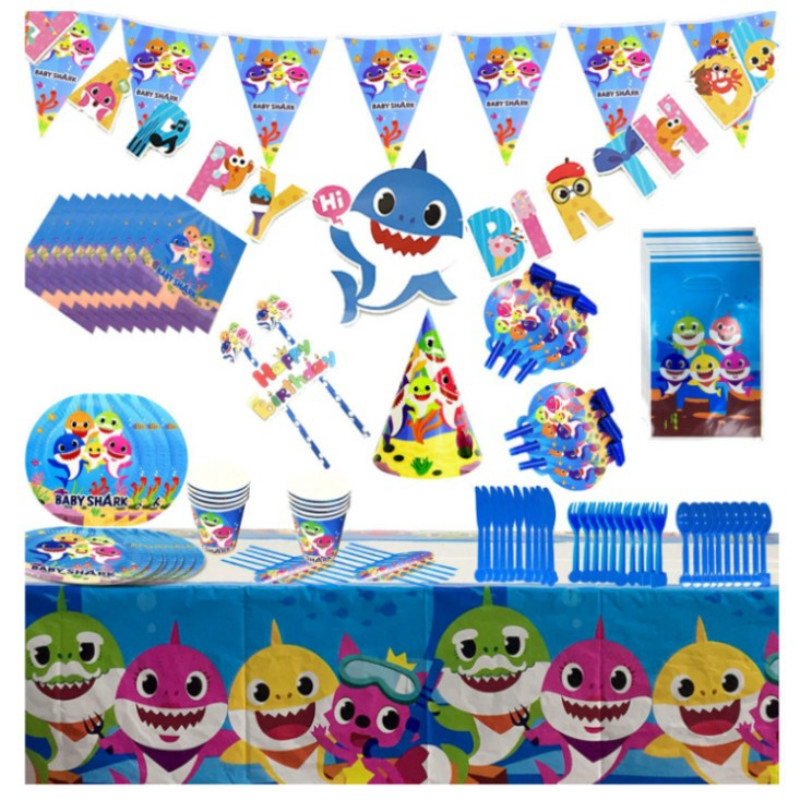 cups,napkins,plates,cutlery,sets etc Children/'s Shark Birthday Party hats