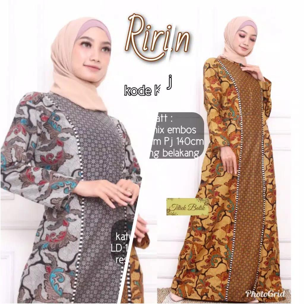 Ririn Maxi Gamis Batik Cantik Sogan Syari Modis The Latest Modern Muslim  Uniforms XXL Long
