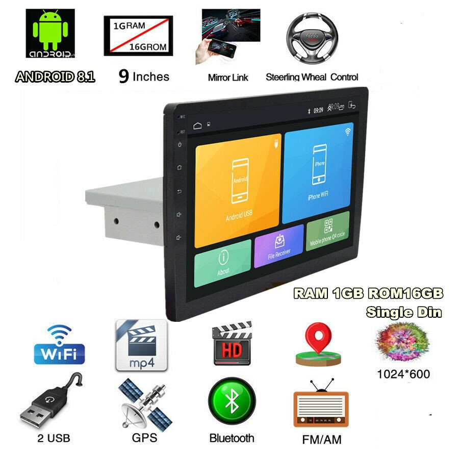 """1Din 9/"""" Quad-core Android 8.1 Car Touch Stereo Radio GPS Navi Wifi BT 1+16G OBD"""