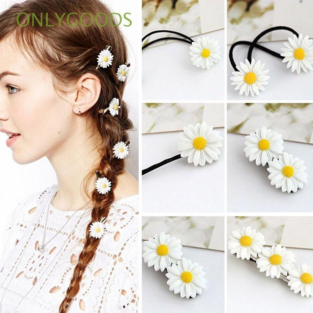 2Pcs Headwear Ornament Barrettes Elastic Rope Mini Daisy Hair Clip Bobby Pins